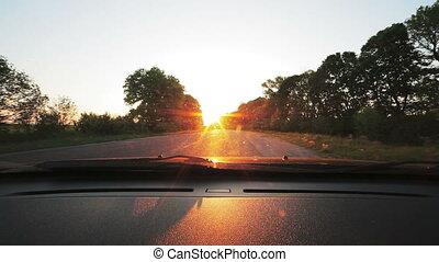 regard, conduite, véhicule, par, point-of-view, pare-brise, road.