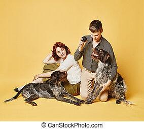 regard, couple, chien, thème, ensemble, 70