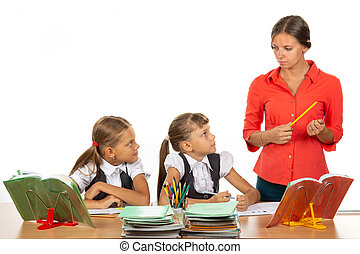 regard, fâché, prof, leur, peur, bureaux, enfants