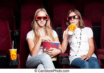 regard, filles, tridimensionnel, deux, cinéma