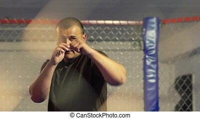 regard, gym., boxeur, par, filet, exercice