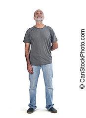 regard, homme, milieu, haut, entiers, portrait, vieilli, blanc