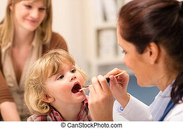 regard, lumière, examiner, pédiatre, enfant, gorge