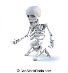 regard, met genoux, quelque chose, squelette, 3d