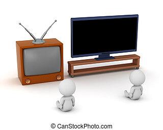 regardant télé, deux, hdtv, retro, caractères, 3d