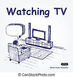 regardant télé