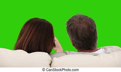 regardant télé, sofa, couple, personnes agées, leur