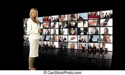regarder, écran, femme