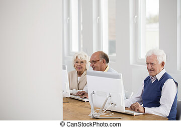 regarder, écran, informatique, homme