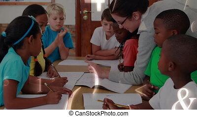 regarder, écrire, enfant, apprentissage, prof, intelligent, dessiner, préscolaire