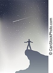 regarder, étoile, tir, ciel