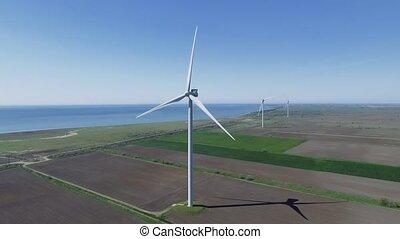 regarder, aérien, étés, turbines, travers, mouvement, jour, vent, vue