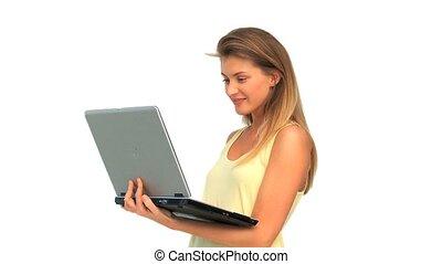 regarder, agréable, ordinateur portable, femme, elle