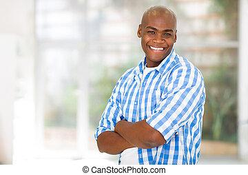 regarder, américain, homme appareil-photo, africaine