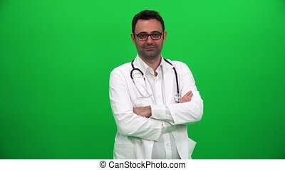 regarder, appareil photo, arrière-plan vert, docteur