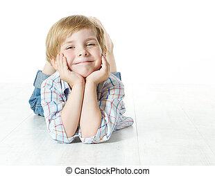 regarder, appareil photo, bas, enfant, sourire, mensonge