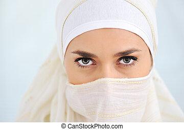 regarder, appareil photo, femme, voile, musulman