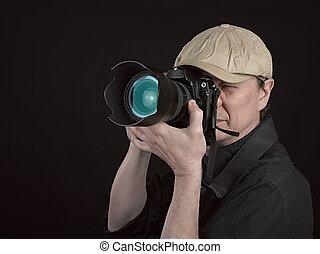 regarder, appareil photo, photographe, par