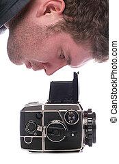 regarder, appareil photo, voyante, homme, format