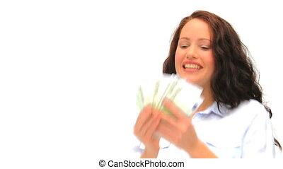 regarder, argent, bon, brunette, elle