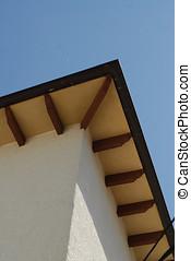 regarder, avant-toit, toit, haut