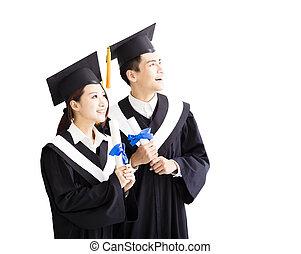 regarder, avenir, remise de diplomes, heureux