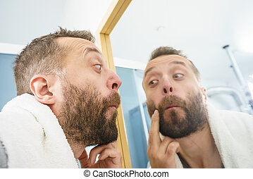 regarder, barbe, sien, homme, miroir