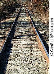 regarder bas, chemin fer traque