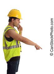 regarder bas, ouvrier construction, pointage
