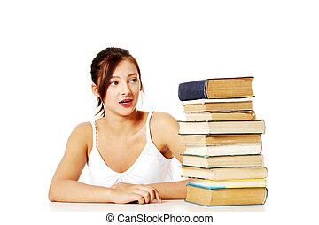 regarder, books., tas, jeune fille