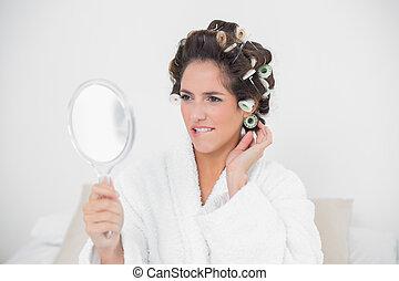 regarder, brunette, naturel, joli, miroir
