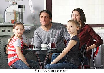regarder, café, côté, famille