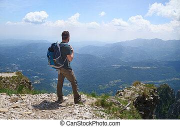 regarder, chaîne de montagnes, paysage, homme