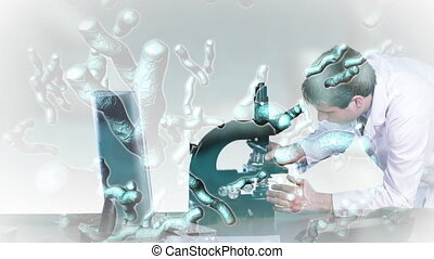 regarder, chercheur, 2, microscope