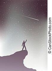 regarder, ciel, étoile filante, homme