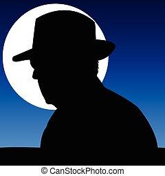 regarder, clair lune, homme