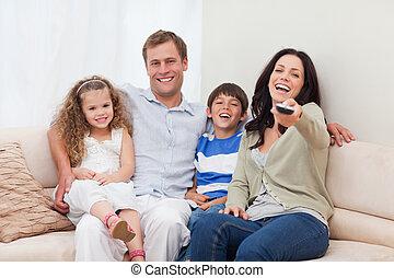 regarder, comédie, ensemble, famille