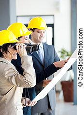 regarder, construction, architecte, site