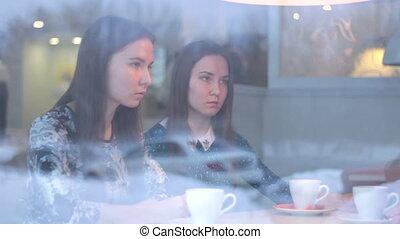 regarder, conversation, quoique, autre, jumeaux, chaque, café, ami