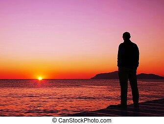 regarder, coucher soleil, homme