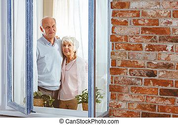 regarder, couple, ciel