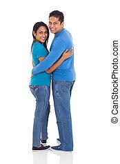 regarder, couple, indien, dos