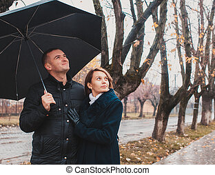 regarder, couple, jeune, haut
