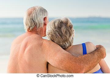 regarder, couple, mer
