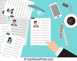 regarder, cv, compagnie, vitae, homme, programme scolaire, reprend, par, regarde, directeur, employé, hr, sommet, employees., recrutement, vue, business, concept.