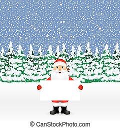 regarder dérobée, grand, derrière, santa, blanc, bannière
