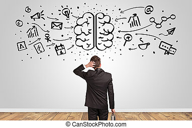 regarder, directeur, surchargé, mur, cerveau, concept