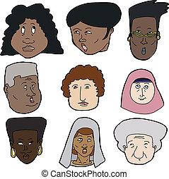 regarder, divers, haut, femmes