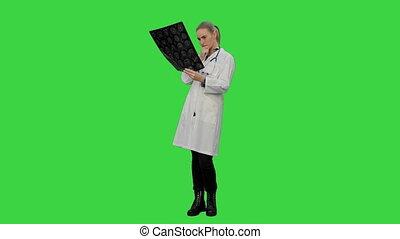 regarder, docteur féminin, chroma, écran, xray, cerveau, vert, key., humain