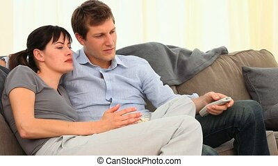 regarder, effrayant, couple, film
